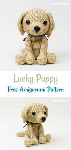 This cute lucky puppy amigurumi is just 15 cm tall. The difficulty range of the Lucky Puppy Amigurumi Pattern is medium. Crochet Gifts, Cute Crochet, Crochet Baby, Crochet Amigurumi Free Patterns, Crochet Dolls, Lucky Puppy, Happy Puppy, Stuffed Animal Patterns, Amigurumi Doll