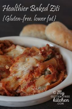 Healthier Baked Ziti {gluten-free, lower fat} All the flavors of lasagna, in an easy to make dish!