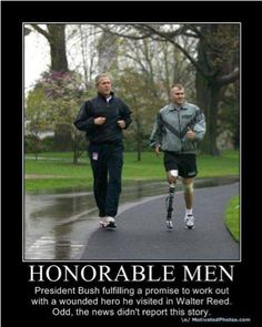 Honorable Men: President George W. Bush fulfilling a promise to work out with a wounded hero he visited in Walter Reed. Odd...I didn't see cable news report this story! (via Kalin C.)
