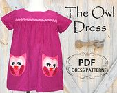 Patterns, Girls Dress Pattern, Supplies, Childrens Sewing Patterns, baby, eBook, PDF, tutorial, Owl Dress sizes 1 to 8