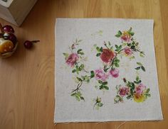 Vintage hand printed faric cotton linen by DragonflyWorkshopYi