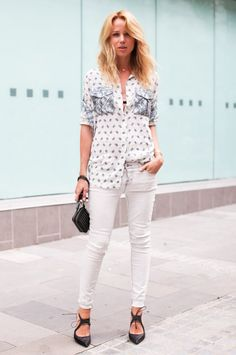 Elin Kling wearing Pierre Balmain shirt, J Brand jeans and Altuzarra shoes.