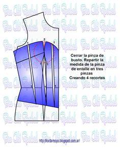 CORSET CON VARIOS RECORTES Dress Sewing Patterns, Clothing Patterns, Sewing Projects, Projects To Try, Diy Fashion, Fashion Design, Pattern Drafting, Fabric Manipulation, Bra Tops