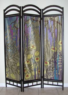 """Waves of Sunshine"" 3 Panel Folding Screen Inspired by Monet's Garden at Giverny  LaurieSchaferDesigns, $2000.00"