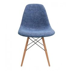 Eames Style Woven Fabric Plastic Dining Chair with Wood Eiffel Legs