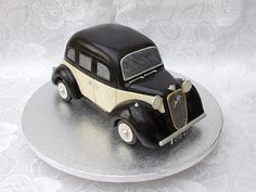 *3D carved vintage car cake, everything edible even the lights,...