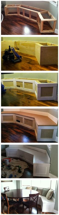 DIY Built-in Banquette. Sorry no link or directions just this picture tutorial, but if you are good with carpentry I'm sure this would not be that difficult.