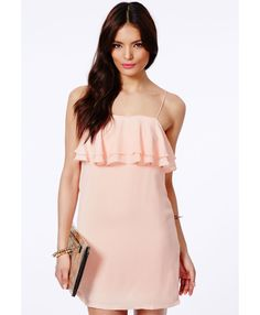 Lanty Shift Dress With Frill - Dresses - Mini Dresses - Missguided