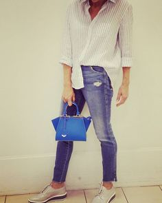 #365days365looks Feeling very chill in #joesjeans #frankandeileen relaxed Oxford shirt #pradaplatformshoes and #fendibag #iworkatnm #summertime #houstonfashion #houstontrend