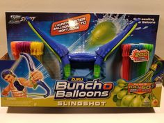 Zuru Bunch O Balloons Slingshot Self Sealing Water Balloonslaunch Up To Water Balloon Launcher, Pokemon Party Decorations, Bouncy Castle, Water Balloons, Slingshot, Burger King Logo, Treat Bags, Party Games, Toys