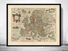 Vintage Old Europe Map Antique Atlas 1638   The Map is approximately 18,0 x 23,0 inches. includes an extra white border of 0,2 for framing. The map is printed on fine paper 270gsm The frame is not included.  This page will be carefully inserted into a solid tube. The sleeve will be shipped in a tube to prevent any bending. Im happy to combine shipping, just ask!  Be sure to check out our other vintage maps and medieval city illustrations. If there is a city, state, country or region you are…