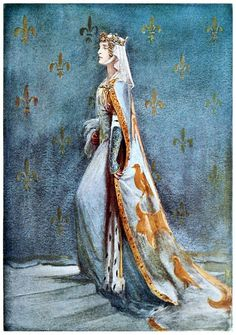 century Queen of Richard II - Anne of Bohemia - illustration by Percy Anderson for Costume Fanciful, Historical and Theatrical, Art And Illustration, Illustrations, Roi Arthur, King Arthur, Plantagenet, Queen Of England, Medieval Costume, 14th Century, Middle Ages