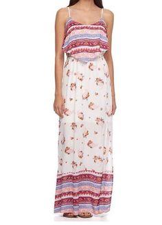 ea41994138a Juniors  Spaghetti Adorable Mudd Woven maxi Long Sun dress Top Size Large  NWT