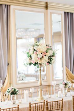Glamorous Ballroom Wedding Centerpieces by Petals Couture at the Warwick Melrose Hotel Captured by The Tarnos  #bridesofnorthtx #northtxbrid #centerpieces