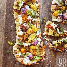 Squash & Ricotta Flatbread  The foolproof dough for this flatbread grills to crispy perfection so it can hold a hefty amount of cheese and veggies.