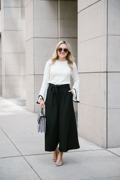 Flare Sleeve Sweater + Wide Leg Trousers   bows & sequins