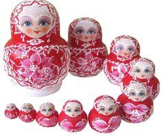 NO  1 russe en bois poupées matriochka cadeau rouge de nidification poupées  10pcs  Amazon ae31eaa46ed