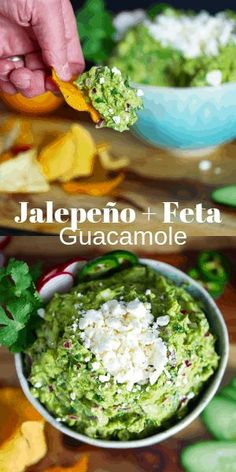 The best jalapeño and feta guacamole! The acidity from the lime combined with the heat of the jalapeño + salty tang from the feta make this so delicious. Best Gluten Free Recipes, Keto Recipes, Snack Recipes, Guacamole Recipe, Guacamole Dip, Roasted Jalapeno, Fresh Lemon Juice, Fresh Lime, Vegetable Chips