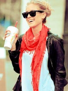 Effortless Kristen Cavallari, coral scarf, distressed jeans, white tee, Michael kors brown leather jacket