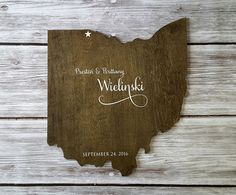 Proud of where your roots are from? Celebrate with a rustic, custom state sign for any occasion!! :) Personalized Wood State Wedding Guest Book Our one-of-a-kind guest books are made out of 1/2 wood with your choice of stain or paint, and then sealed with varnish. The size of your board will vary depending on which state you select. We will make the board as large as possible from a 24 x 24 piece of pine or birch wood. If you desire a different size, please convo me for a price quote. Yo...