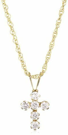 Jewelry Of Faith Girl's 10k Gold Cubic Zirconia Cross Pendant Necklace and Gold Filled Chain Jewelry Of Faith. $24.99. Includes Jewelry of Faith gift box. Made in USA