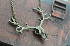 The deer head jewelry antler necklace for mens gift antique on Etsy, $2.40