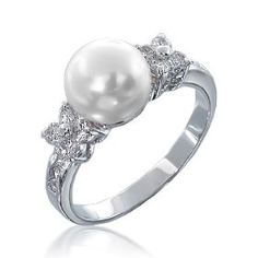 Valentines Day Bling Jewelry Flower CZ Pearl Engagement Ring $19.99