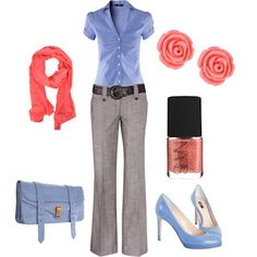 Grey and blue with a pop of coral