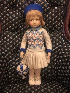 Fresh from a local estate is Grandmas doll a 17 tall felt girl by Lenci. Ca 1930. All original costume and ball in net. Marked on foot with the Lenci name in script. No insect damage but there is