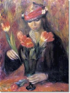 William James Glackens -  William James Glackens - Girl Arranging Tulips Painting