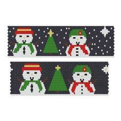Ornament Snow Friends Tea Lights, bead pattern for peyote or brick stitch