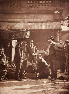 Londoners in Victorian Britain by photojournalist John Thomson in 1877 -  Convent garden labourers