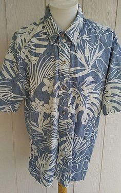 1c3c558d9 Kalaheo Mens Sz XL Reverse Print Hawaiian Shirt Blue Floral Jungle Aloha  Camp #Kalaheo #Hawaiian