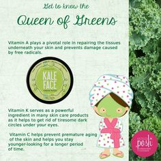 Red, irritated skin? Go green! Made with kale, spinach, parsley, and arugula, our Kale Face mask is rich in vitamin K which helps soothe skin and reduce redness and irritation. Just apply this cool, green gel and allow it to work its magic. Then rinse away and reveal, calm, smooth skin. Sometimes it's easy being green. $18 #skinredness #kale #spinach #parsley #rosecea #beauty #skincare #environment  #nature #eco #ecofriendly #healthy #green #world #home #earth www.perfectlyposhmeplease.com