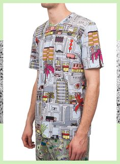 Kit Neale - Peckham Riviera Full Print T-Shirt Summer 2014, Spring Summer, Button Down Shirt, Men Casual, Menswear, Kit, Mens Tops, T Shirt, Fashion