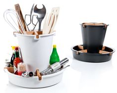 Lazy Linda Kitchen Organizer. It was created by British designer Simon Wilkinson to hold all of the kitchen utensils we use on a daily basis.