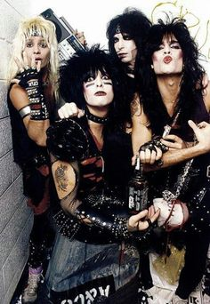 "A classic Motley Crue poster! Vince Neil, Nikki Sixx, Mick Mars, and Tommy Lee showing off their Wild Side! ""Feelgood"" and check out the rest of our fantastic selection of Motley Crue posters! Nikki Sixx, Hair Metal Bands, 80s Hair Bands, Metal Music Bands, Girls Girls Girls, Glam Metal, Heavy Metal, Blues Rock, Motley Crue Poster"