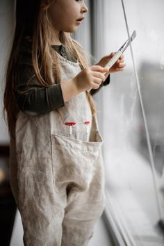 Linen Jumpsuit for Kids with Large Handmade Embroidery / Linen Kids Overall in Light Grey / more colors available - Babykleidung Jumpsuit For Kids, Baby Jumpsuit, Baby Outfits, Kids Outfits, White Linen Shirt, Baby Overalls, Jumpsuits For Girls, Kind Mode, Kids Fashion