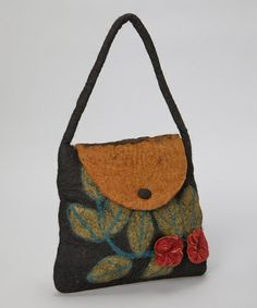 Take a look at this Brown & Tan Flower Wool Shoulder Bag by Sassy Hip on #zulily today! $47 !!