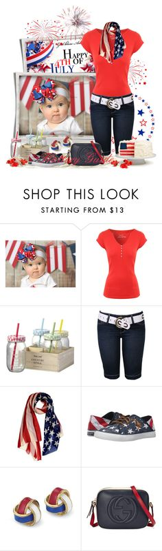 """""""Happy Independence Day USA! #FourthofJuly2016"""" by flattery-guide ❤ liked on Polyvore featuring Jane Norman, Sperry and Gucci"""
