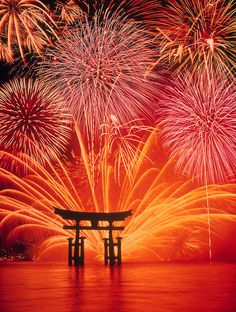 Fireworks at Itsukushima Shrine (Miyajima), Hiroshima, Japan.  I do love Japan!