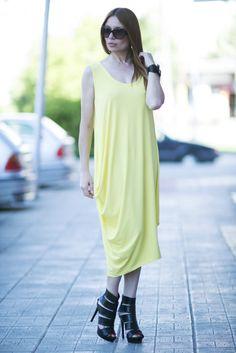 Yellow Summer Dress / Yellow Loose Shirt / Loose Asymmetric