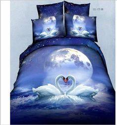 2016 Newest Bedding sets Cartoon Bedding-set Bed Set King Size Sheets Duvet Cover Quilt Pillow No Comforter Cheap Bedding Sets, Cotton Bedding Sets, Bedding Sets Online, Comforter Cover, Duvet Cover Sets, Comforter Sets, Moon River, Animal Print Bedding, Blue Bedding