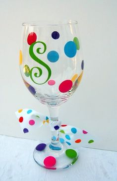 Personalized Letter Initial on Wine or Iced Beverage Glass with Vinyl Polka Dots