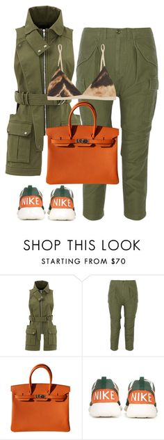"""""""Untitled #5085"""" by stylistbyair ❤ liked on Polyvore featuring Marissa Webb, NLST, Hermès, NIKE and Base Range"""