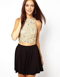 River Island Embellished High Neck Crop Top #gold Get 7% cash back at http://www.studentrate.com/all/get-all-student-deals/ASOS-Student-Discount--/0