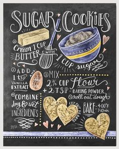 We make our sugar cookies in the shape of hearts because we absolutely love this recipe! If sweet and simple sugar cookies are your favorites, this hand illustrated recipe design will be too! ♥ Our fi Easy Sugar Cookies, Sugar Cookies Recipe, Cookie Recipes, Baking Cookies, Food Design, Cookies Receta, Lily And Val, Chalkboard Print, Kitchen Chalkboard