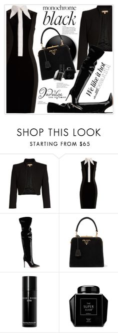 """""""Monochrome: All Black Everything"""" by stranjakivana ❤ liked on Polyvore featuring Michael Kors, Givenchy, Gianvito Rossi, Prada, Bobbi Brown Cosmetics, Burberry, WALL, allblack and polyvoreeditorial"""