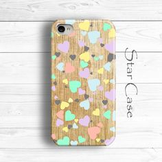Hearts iPhone 4s Case, iPhone 5 Case, iPhone 4 Case, iPhone 5s Case, Wood iPhone 4s Case, Girly iPhone 6 Case Wooden iPhone 5 Cover by Star Case