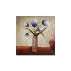 [$73.99] Purple Flower Hand-painted Abstract Still Life Oil Painting with Stretched Frame - Free Shipping